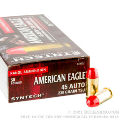 500 Rounds of .45 ACP Ammo by Federal - 230gr Syntech TSJ