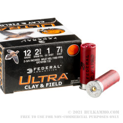 """250 Rounds of 12ga Ammo by Federal Ultra Clay & Field - 2-3/4"""" 1 ounce #7 1/2 shot"""