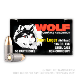 50 Rounds of 9mm Ammo by Wolf Performance - 115gr FMJ