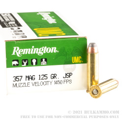 50 Rounds of .357 Mag Ammo by Remington - 125gr JSP