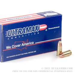 50 Rounds of 9mm Ammo by Ultramax - 115gr FMJ