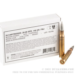 20 Rounds of 30-06 Springfield Ammo by Kynoch 1950s Surplus - 148gr FMJ