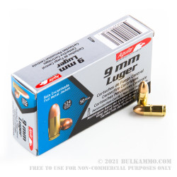 50 Rounds of 9mm Ammo by Aguila - 124gr FMJ