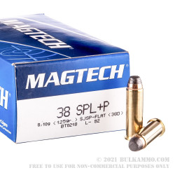 50 Rounds of .38 Special +P Ammo by 125 - 125gr SJSP
