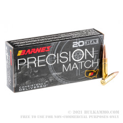20 Rounds of .300 AAC Blackout Ammo by Barnes Precision Match - 125gr OTM BT