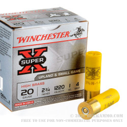 "25 Rounds of 20ga Ammo by Winchester Super-x - 2-3/4"" 1 ounce #4 shot"