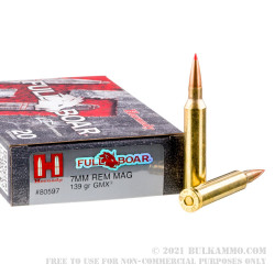 20 Rounds of 7mm Rem Mag Ammo by Hornady - 139gr GMX