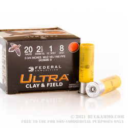 """250 Rounds of 20ga Ammo by Federal Ultra Clay & Field - 2-3/4"""" 1 ounce #8 shot"""
