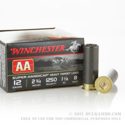 "25 Rounds of 12ga 2-3/4"" Ammo by Winchester - 1 1/8 ounce #8 shot"