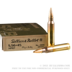 20 Rounds of 5.56x45 Ammo by Sellier & Bellot - 77gr HPBT