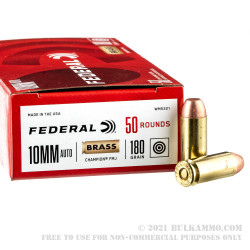 50 Rounds of 10mm Ammo by Federal Champion- 180gr FMJ