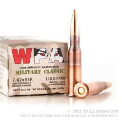 20 Rounds of 7.62x54r Ammo by Wolf Military Classic - 148gr FMJ