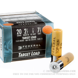 250 Rounds of 20ga Ammo by Federal Top Gun - 7/8 ounce #7 1/2 shot