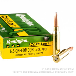 20 Rounds of 6.5 mm Creedmoor Ammo by Remington Core-Lokt - 140gr PSP