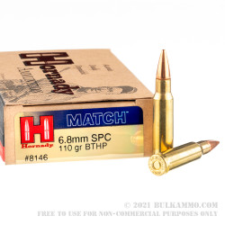 20 Rounds of 6.8 Remington SPC  Ammo by Hornady - 110 gr BTHP