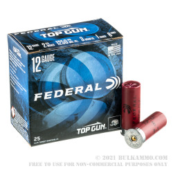250 Rounds of 12ga Ammo by Federal Top Gun - 1 ounce #8 shot High Velocity