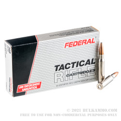 20 Rounds of .308 Win Ammo by Federal Tactical - 165gr SP Bonded
