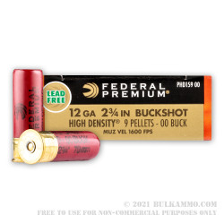 5 Rounds of 12ga Ammo by Federal Vital-Shok - 9 pellet high density 00 buckshot