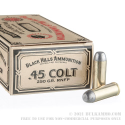 50 Rounds of .45 Long Colt Ammo by Black Hills Authentic Cowboy Action - 250gr RNFP
