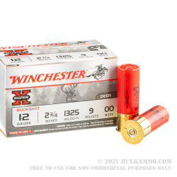 """150 Rounds of 12ga 2-3/4"""" Ammo by Winchester Super-X -  00 Buck"""