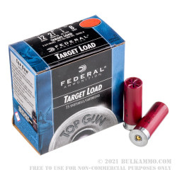 25 Rounds of 12ga Ammo by Federal Top Gun - 7/8 ounce #8 shot
