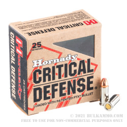 250 Rounds of .25 ACP Ammo by Hornady Critical Defense - 35gr FTX