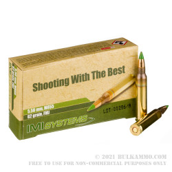 30 Rounds of 5.56x45 Ammo by Israeli Military Industries - 62gr FMJ M855