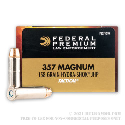 50 Rounds of .357 Mag Ammo by Federal Tactical - 158gr Hydra-Shok JHP