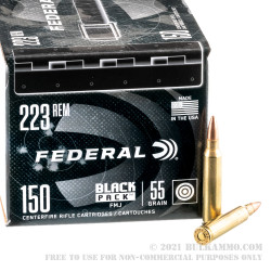 600 Rounds of .223 Ammo by Federal Black Pack - 55gr FMJ