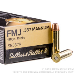 1000 Rounds of .357 Mag Ammo by Sellier & Bellot - 158gr FMJ