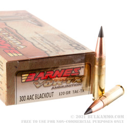 200 Rounds of .300 AAC Blackout Ammo by Barnes VOR-TX - 120gr TAC-TX BT
