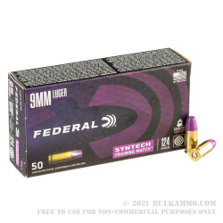 500 Rounds of 9mm Ammo by Federal Syntech Training Match - 124gr Total Synthetic Jacket FN