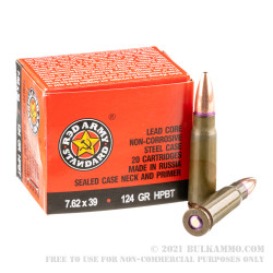 1000 Rounds of 7.62x39mm Ammo by Red Army Standard - 124gr HPBT