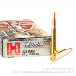 200 Rounds of .223 Ammo by Hornady - 55gr V-Max