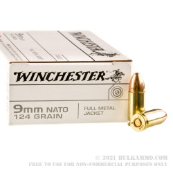 50 Rounds of 9mm Ammo by Winchester - 124gr FMJ