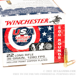 5000 Rounds of .22 LR Ammo by Winchester USA Game & Target - 36gr CPHP