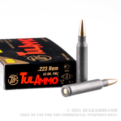 1000 Rounds of .223 Ammo by Tula - 62gr FMJ (Nonmagnetic Bullet)