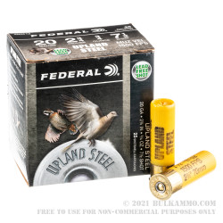 250 Rounds of 20ga Ammo by Federal Upland Steel - 3/4 ounce #7.5 shot
