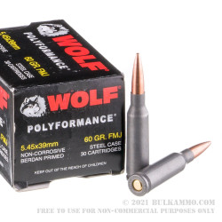 30 Rounds of 5.45x39mm Ammo by Wolf - 60gr FMJ