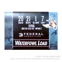 250 Rounds of 20ga Ammo by Federal Speed-Shok - 3/4 ounce #7 Shot (Steel) Waterfowl Load