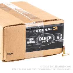1600 Rounds of .22 LR Ammo by Federal Black - 36gr CPHP