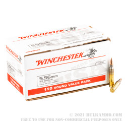 150 Rounds of 5.56x45 Ammo by Winchester USA - 55gr FMJ