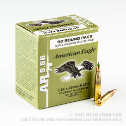 90 Rounds of 5.56x45 Ammo by Federal American Eagle - Lake City - 62gr FMJ M855
