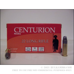 500  Rounds of .22 LR Ammo by Centurion - 38gr HP