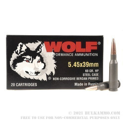 1000 Rounds of 5.45x39mm Ammo by Wolf - 60gr HP