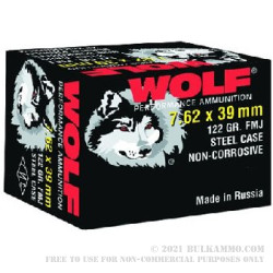 1000 Rounds of 7.62x39mm Ammo by Wolf - 122gr FMJ
