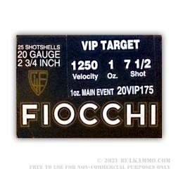 25 Rounds of 20ga Ammo by Fiocchi - Target - 1 ounce #7 1/2 shot