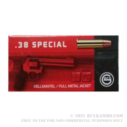 50 Rounds of .38 Spl Ammo by GECO - 158gr FMJ