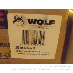 500  Rounds of .223 Ammo by Wolf - 62gr HP
