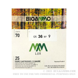 250 Rounds of 12ga Ammo by BioAmmo Lux Lead - 1-1/4 ounce #9 shot